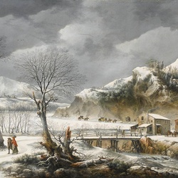 Jigsaw puzzle: Winter landscape with travelers