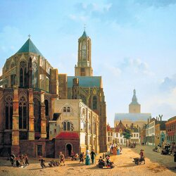 Jigsaw puzzle: Choir and tower view of Utrecht Cathedral