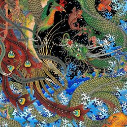Jigsaw puzzle: Dragon and peacock