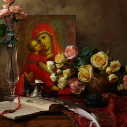 Jigsaw puzzle: Still life with icon