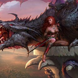 Jigsaw puzzle: Girl and dragon