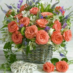 Jigsaw puzzle: Basket of roses