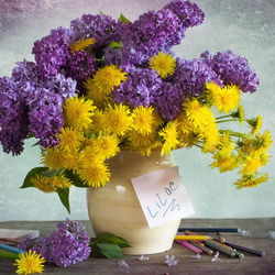 Jigsaw puzzle: Lilac and dandelion