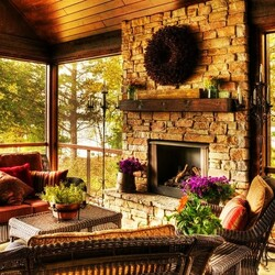 Jigsaw puzzle: Veranda with fireplace