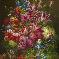 Jigsaw puzzle: Lilies and parrots