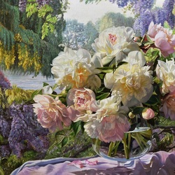 Jigsaw puzzle: Peonies on a summer morning