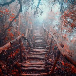Jigsaw puzzle: Staircase in the misty forest