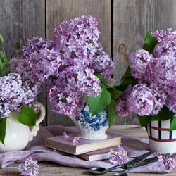 Jigsaw puzzle: Lilacs and books