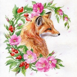Jigsaw puzzle: Little fox in rosehip