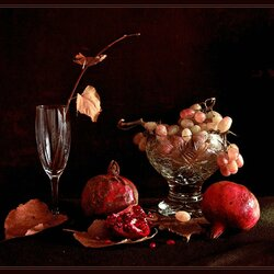 Jigsaw puzzle: Autumn still life with pomegranate