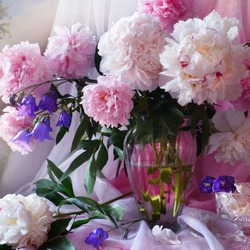 Jigsaw puzzle: Peonies with bells