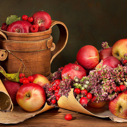 Jigsaw puzzle: Apples and flowers