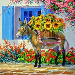 Jigsaw puzzle: Donkey with sunflowers