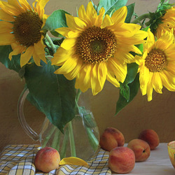 Jigsaw puzzle: Sunflowers and peaches