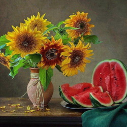 Jigsaw puzzle: Still life with sunflowers and watermelon