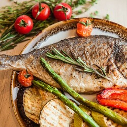 Jigsaw puzzle: Fish with vegetables