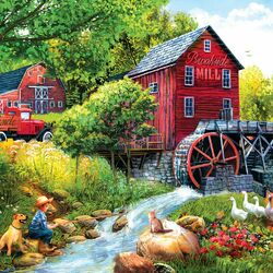 Jigsaw puzzle: Fishing at the mill