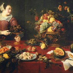 Jigsaw puzzle: Still life with fruit and a maid