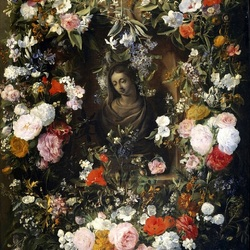 Jigsaw puzzle: Bust of the Virgin Mary in a garland of flowers