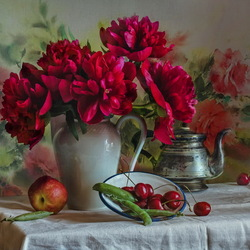 Jigsaw puzzle: Cherry peonies and cherries