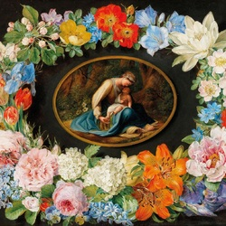 Jigsaw puzzle: Madonna in a flower garland