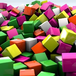 Jigsaw puzzle: Multicolored cubes