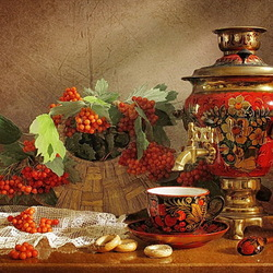 Jigsaw puzzle: Still life with samovar and viburnum