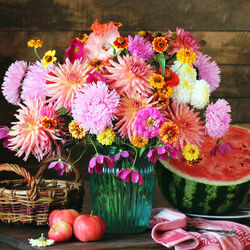 Jigsaw puzzle: Watermelon and flowers
