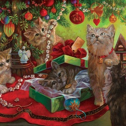 Jigsaw puzzle: Christmas tree for cats