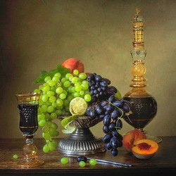 Jigsaw puzzle: Still life with grapes and wine
