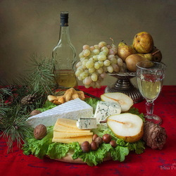 Jigsaw puzzle: Still life with fruit and cheese