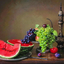 Jigsaw puzzle: Still life with grapes and watermelon