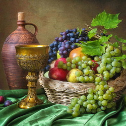 Jigsaw puzzle: Still life with fruit and wine
