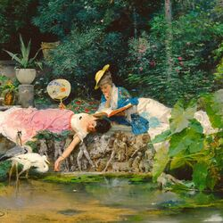Jigsaw puzzle: Girls by the pond