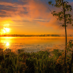 Jigsaw puzzle: Dawn over the lake