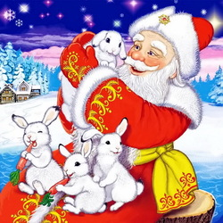 Jigsaw puzzle: Santa Claus and bunnies