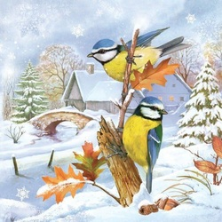 Jigsaw puzzle: Titmouse in winter