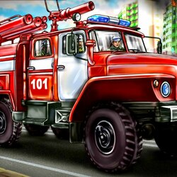 Jigsaw puzzle: Fire engine