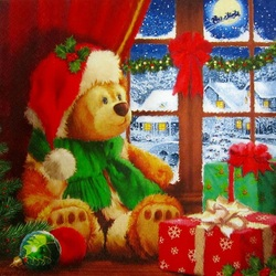 Jigsaw puzzle: Teddy bear looks out the window