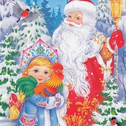 Jigsaw puzzle: Santa Claus with his granddaughter