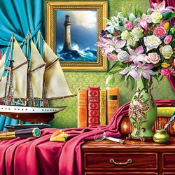 Jigsaw puzzle: Bouquet by the window