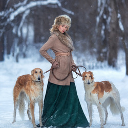 Jigsaw puzzle: Girl with dogs
