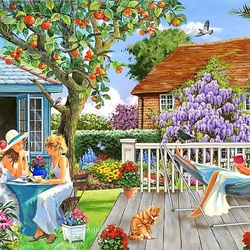 Jigsaw puzzle: Girls in the garden