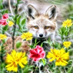 Jigsaw puzzle: Fox in flowers