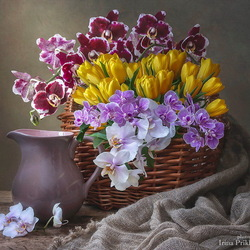 Jigsaw puzzle: Flowers in a basket