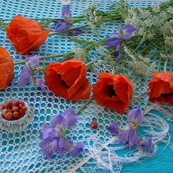 Jigsaw puzzle: Poppies and irises