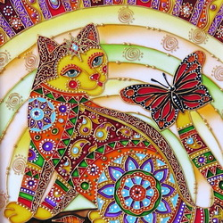 Jigsaw puzzle: Cat and butterfly