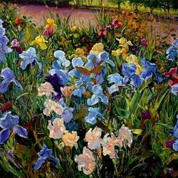 Jigsaw puzzle: Irises in the flowerbed