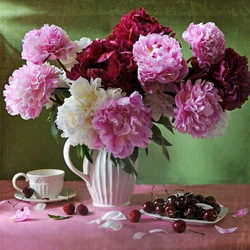 Jigsaw puzzle: Peonies and cherries
