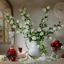 Jigsaw puzzle: Still life with white bells, fruit and wine